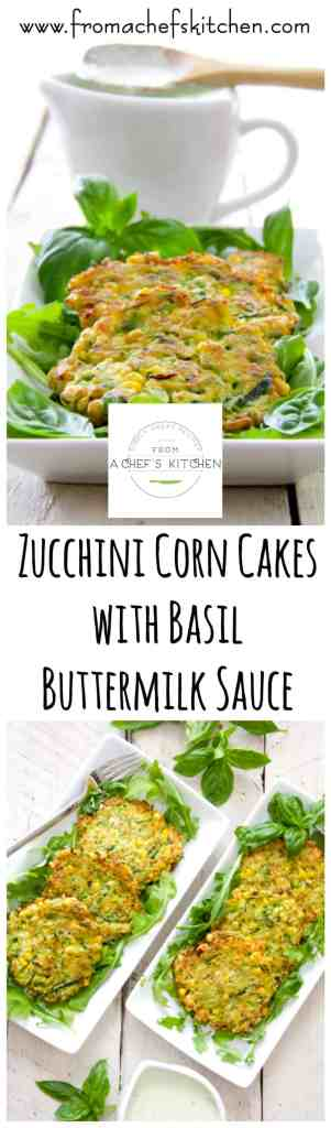 These Zucchini Corn Cakes with Basil Buttermilk Sauce are a great way to use an abundance of zucchini and they're freezer-friendly!