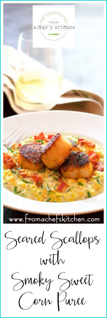 Seared Scallops with Smoky Sweet Corn Puree is smoky, sweet and delicious and a lovely late summer dinner for two.