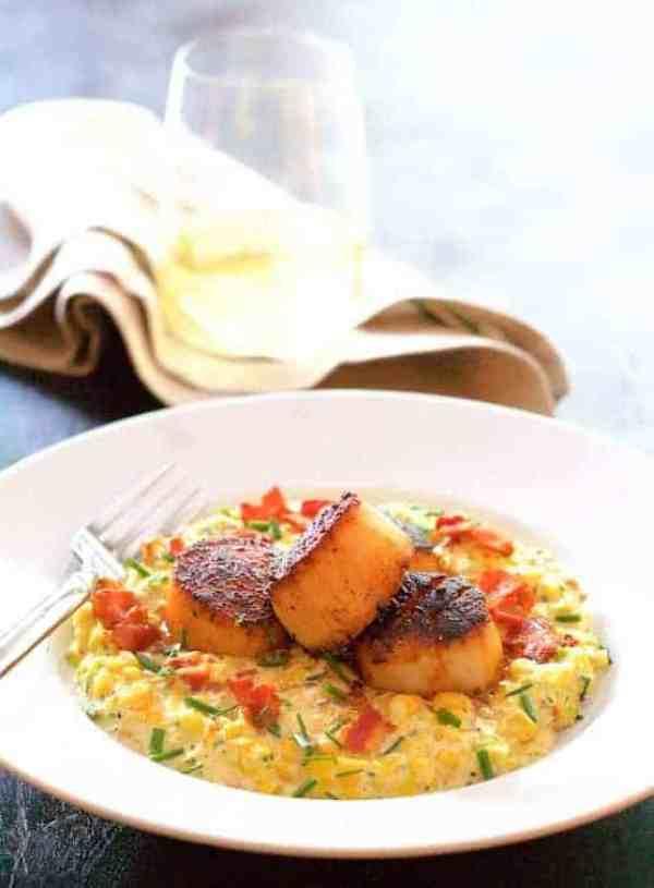 Seared Scallops with Smoky Sweet Corn Puree