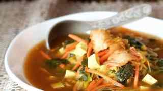 Asian Vegetable Soup with Tofu Kimchi and Rice Noodles