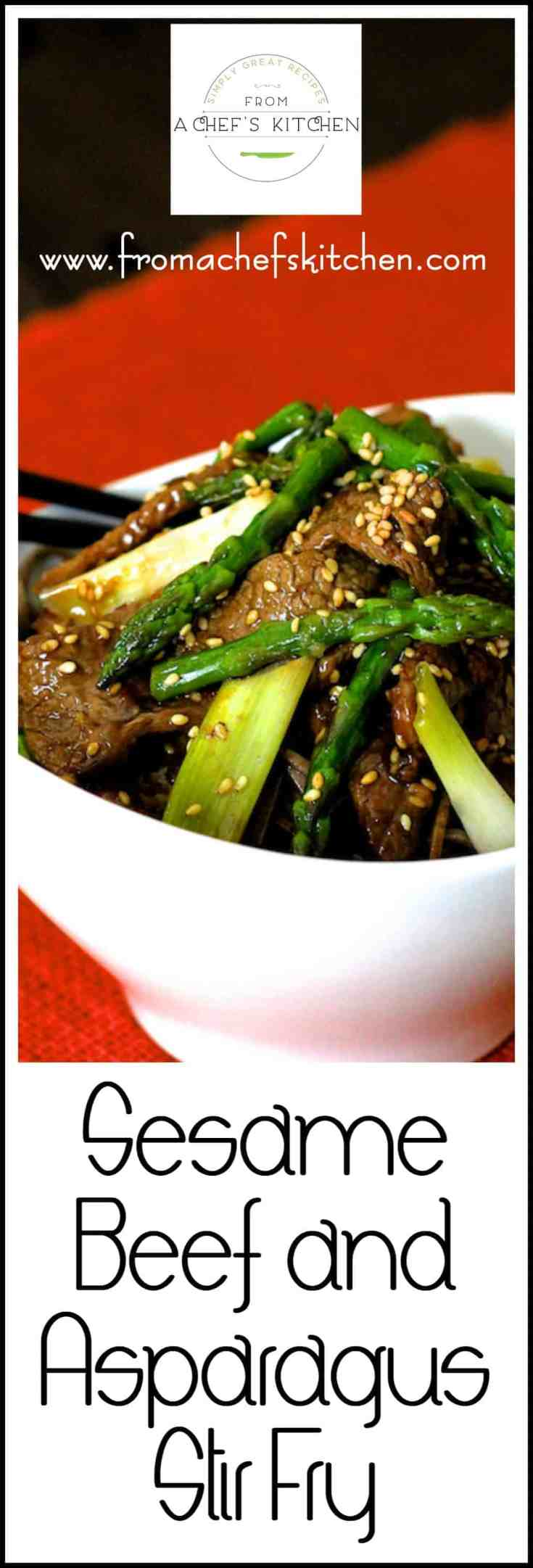 Sesame Beef and Asparagus Stir-Fry can be pulled together quickly with ingredients found in any grocery store when the Asian food craving hits! #beef #beefstirfry #Asianfood #Asianrecipes #Asianbeefrecipes #asparagus