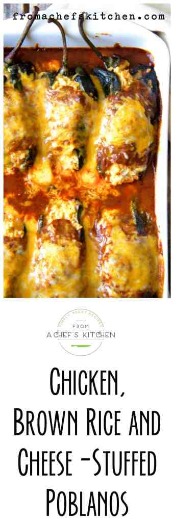 Chicken, Brown Rice and Cheese-Stuffed Poblanos - Chicken, brown rice and two types of cheese are enveloped in earthy, roasted Poblano peppers, topped with a red chile sauce and yes, more cheese!
