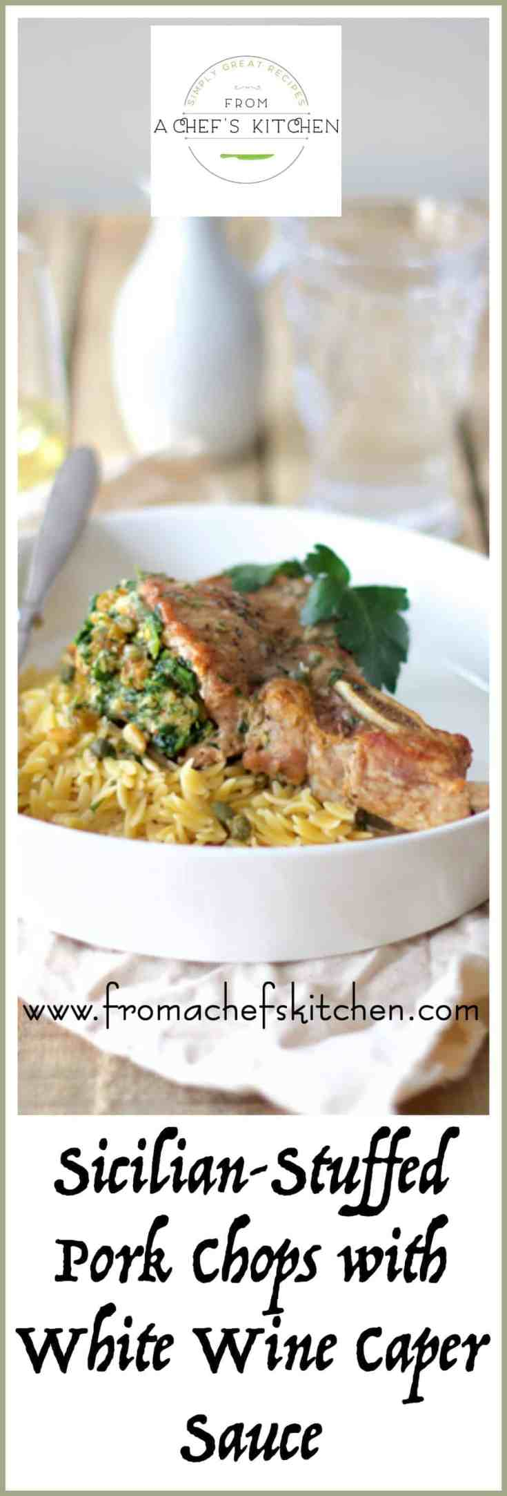 Sicilian Stuffed Pork Chops with White Wine and Caper Sauce is an elegant way to dress up a dinnertime staple--the pork chop! #porkrecipes #porkchoprecipes #Italianporkrecipes #Italianmeals #Italianfood #meat #meatrecipes