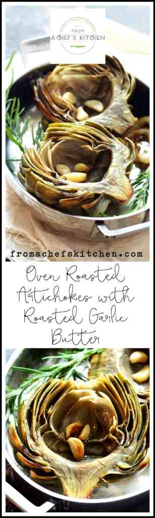 Don't boil or steam away the delicate flavor of artichokes! Oven Roasted Artichokes with Roasted Garlic Butter is an easy way to cook artichokes to preserve their wonderful flavor.