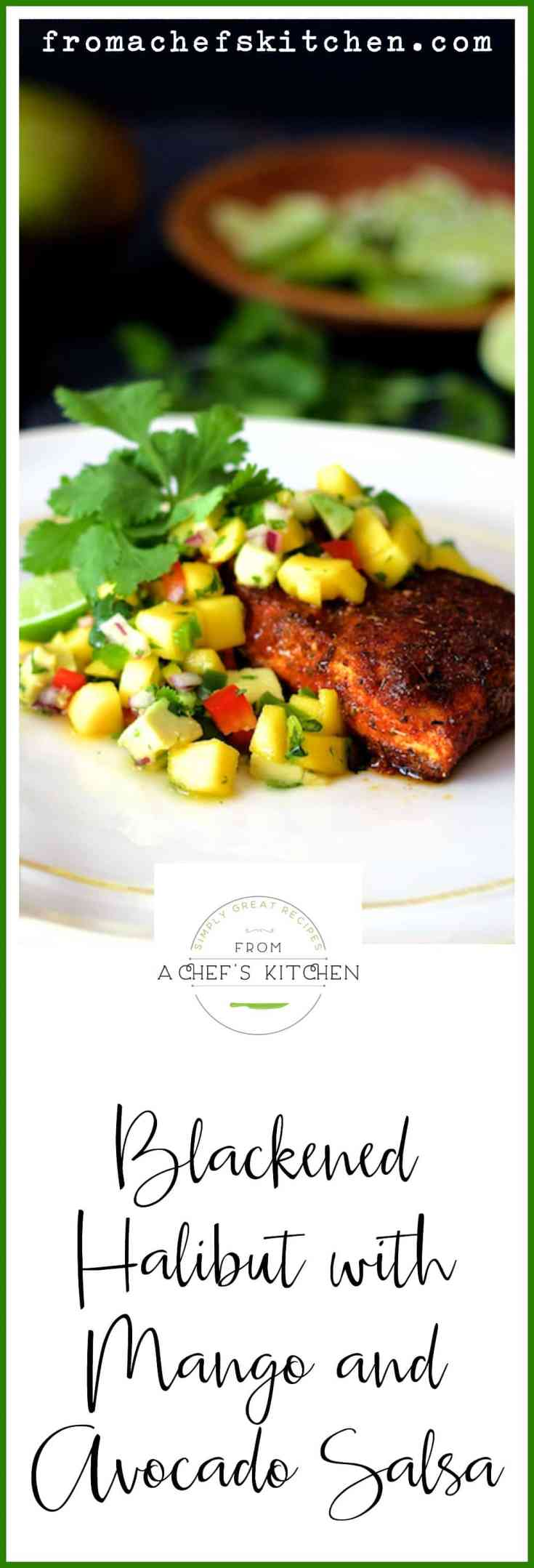 Blackened Halibut with Mango and Avocado Salsa is sure to become your new favorite fish dish! You'll never buy blackening spice again once you try this homemade blend! #fish #fishandseafood #blackened #blackenedhalibut #mango #avocado #salsa #lightandhealthy