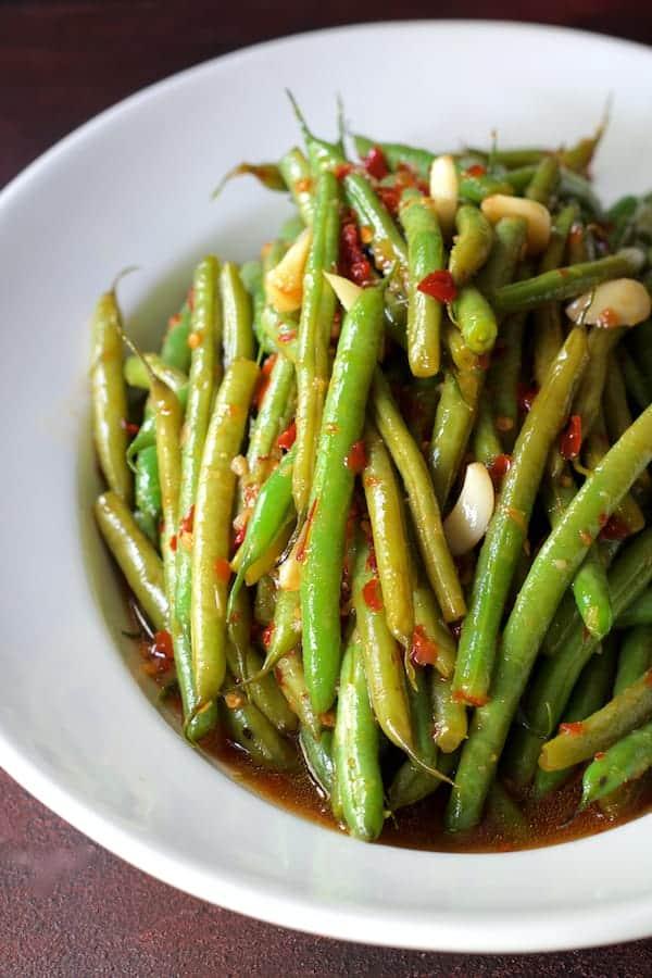 Thai Sweet Chili Green Beans - In white serving bowl