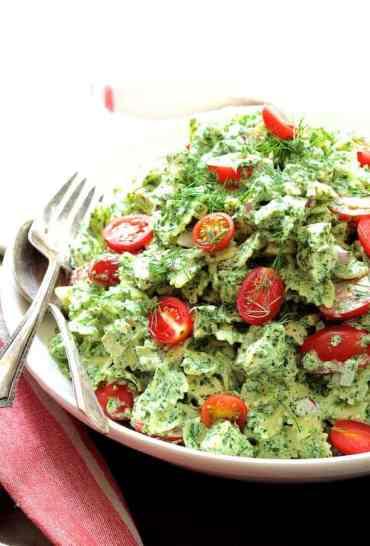 Chicken Pasta Salad with Spinach Buttermilk Dressing