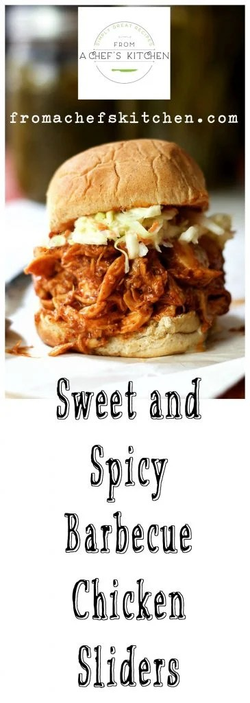Sweet and Spicy Barbecue Chicken Sliders deliver long-cooked taste in only about 45 minutes! Perfect for a party!