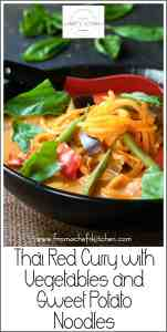 Thai Red Curry with Vegetables and Sweet Potato Noodles Pinterest Image