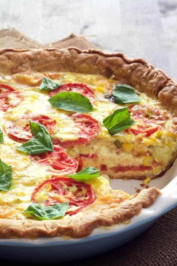 Tomato and Corn Pie with Fresh Basil