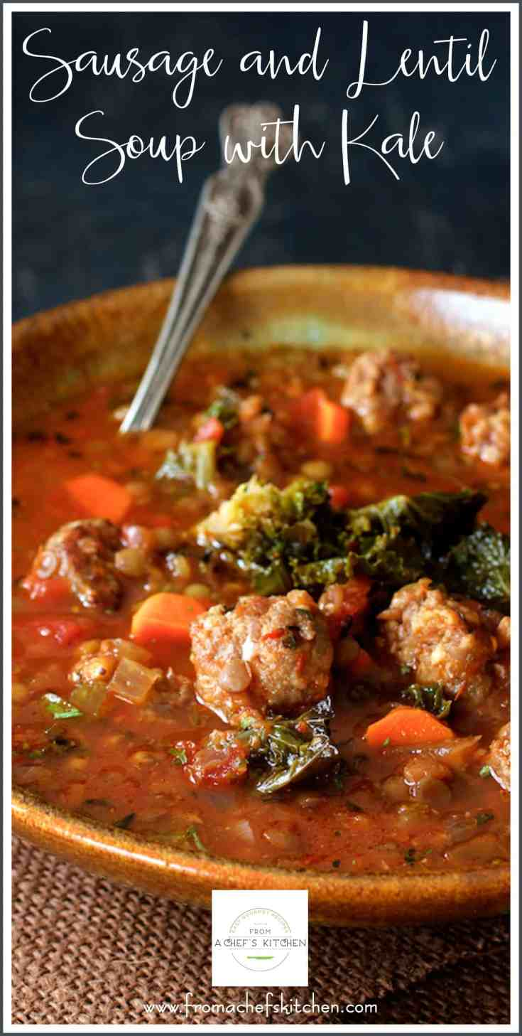 Sausage and Lentil Soup with Kale is perfect for when all you want to do is wrap yourself up in some comfies and just enjoy a good, hearty bowl of flavorful goodness! #sausage #lentil #lentilsoup #lentilsouprecipes #kalesoup #soup #souprecipes