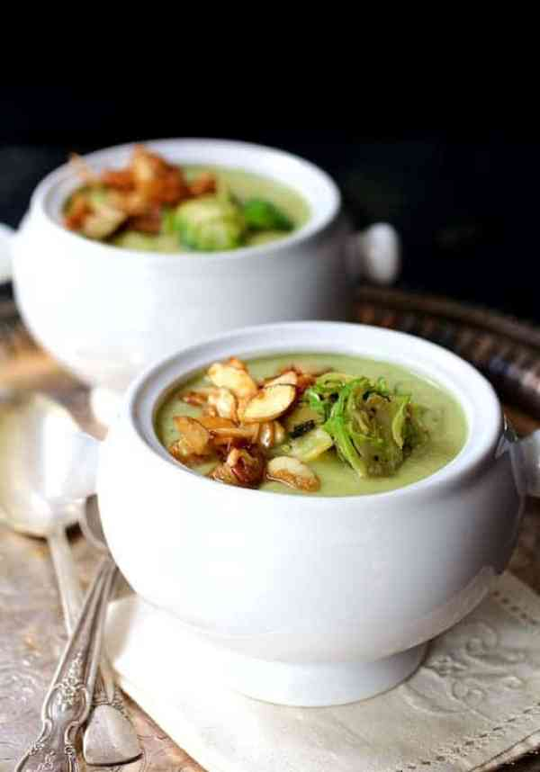 Cream of Brussels Sprouts Soup with Butter and Turbinado Toasted Almonds