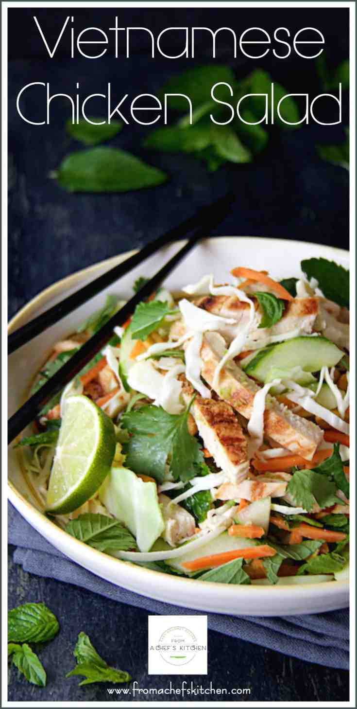 Vietnamese Chicken Salad is loaded with fresh herbs, vegetables and will rock your world with flavor!  It's the perfect healthy dinner for two! #vietnamesefood #vietnamesechickesalad #chickensalad #healthychickensalad
