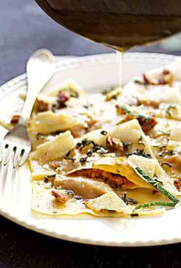 Pumpkin Ravioli with Sage Brown Butter Parmesan and Pecans
