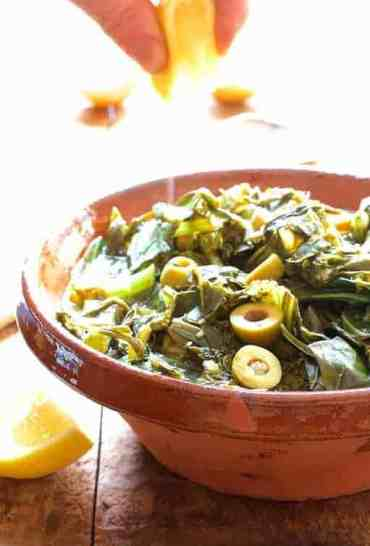Braised Greens with Olive and Lemon