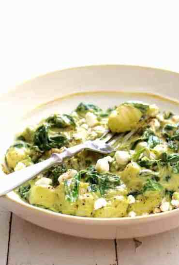 Gnocchi with Spinach and Avocado Goat Cheese Sauce