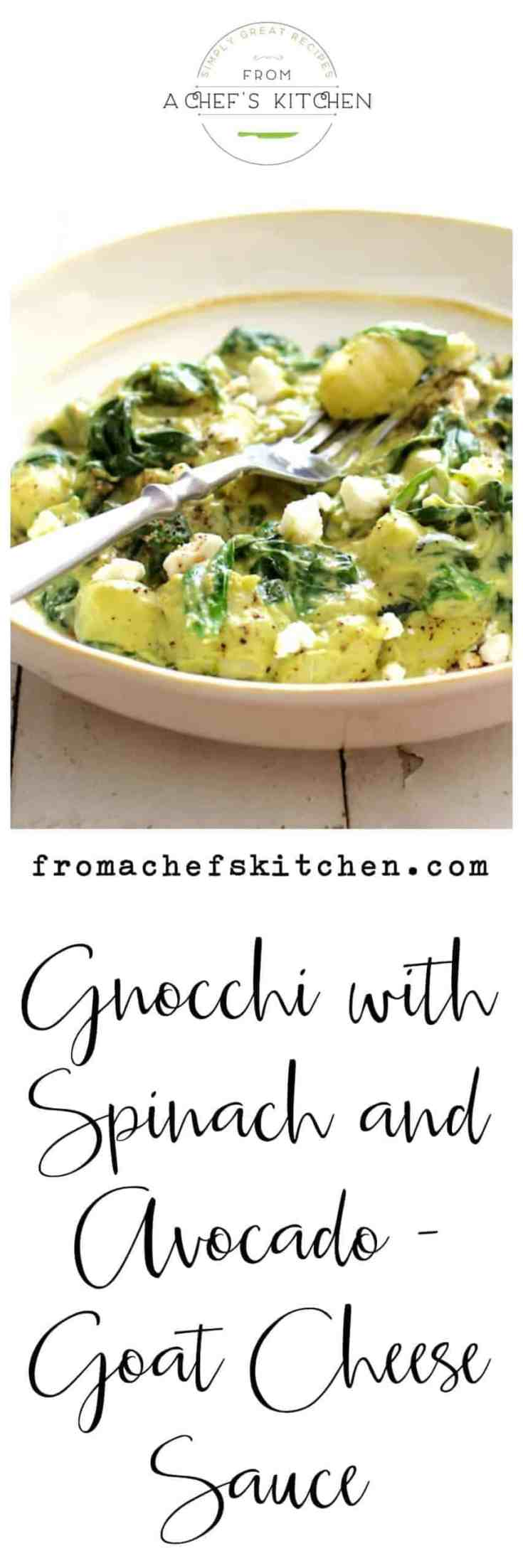 Gnocchi with Spinach and Avocado Goat Cheese Sauce is a quick and easy dinner solution with minimal cooking and maximum flavor! #gnocchi #pastarecipes #gnocchirecipes #avocadorecipes #vegetarianrecipes #vegetarianpastarecipes