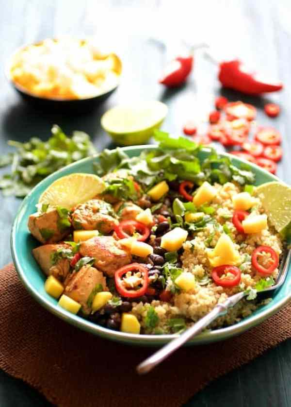 Cuban Chicken Black Bean and Quinoa Bowls are a tropical, healthful and flavorful delight!