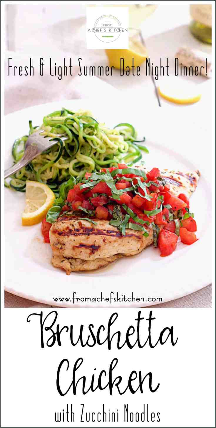 Bruschetta Chicken with Zucchini Noodles is Italian-inspired, light, fresh, healthful and easy as summer itself.  Perfect for low-carb, Paleo or gluten-free diets, too! #chicken #chickendinner #bruschetta #Italian #Italianfood #zucchini #zucchininoodles #zoodles