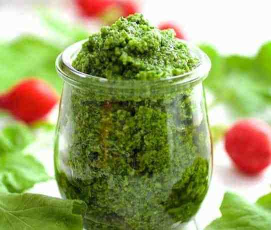 Don't toss those radish greens! Pungent, peppery radish leaves make perfect pesto!
