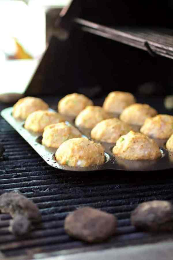 Asian Barbecue Chicken Meatballs cooking on outdoor grill