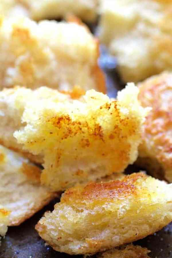 Close-up of sourdough croutons after baking