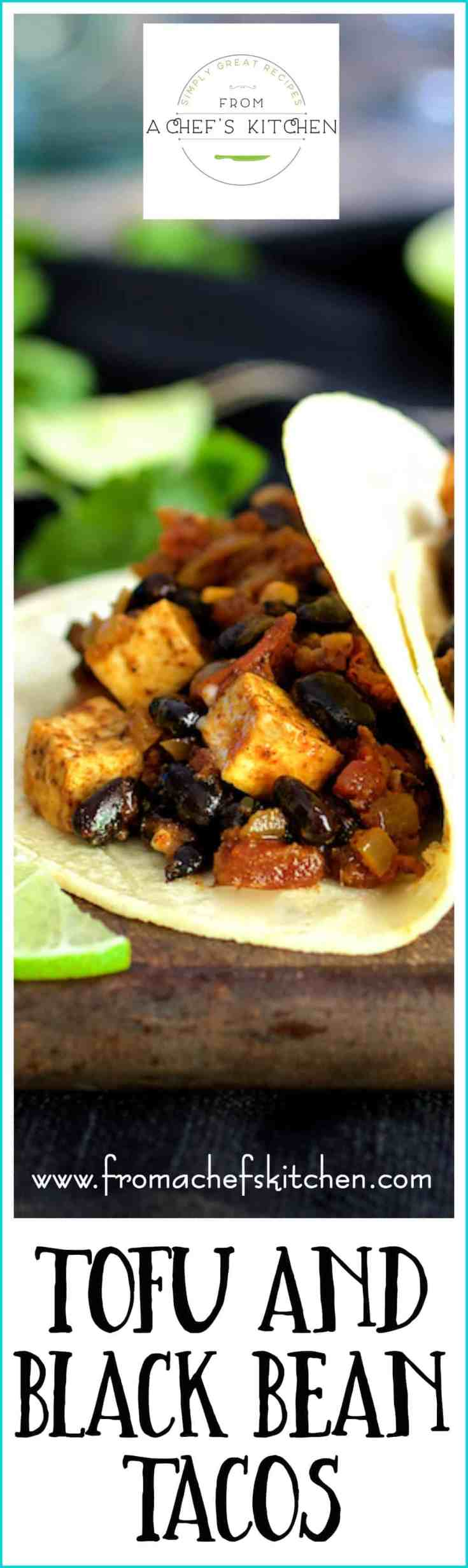 Tofu and Black Bean Tacos are easy, delicious, packed with protein and a healthful way to enjoy tacos. Even a diehard carnivore won't miss the meat! #tacos #vegetarian #vegetariantacos #meatless #tofu #blackbean