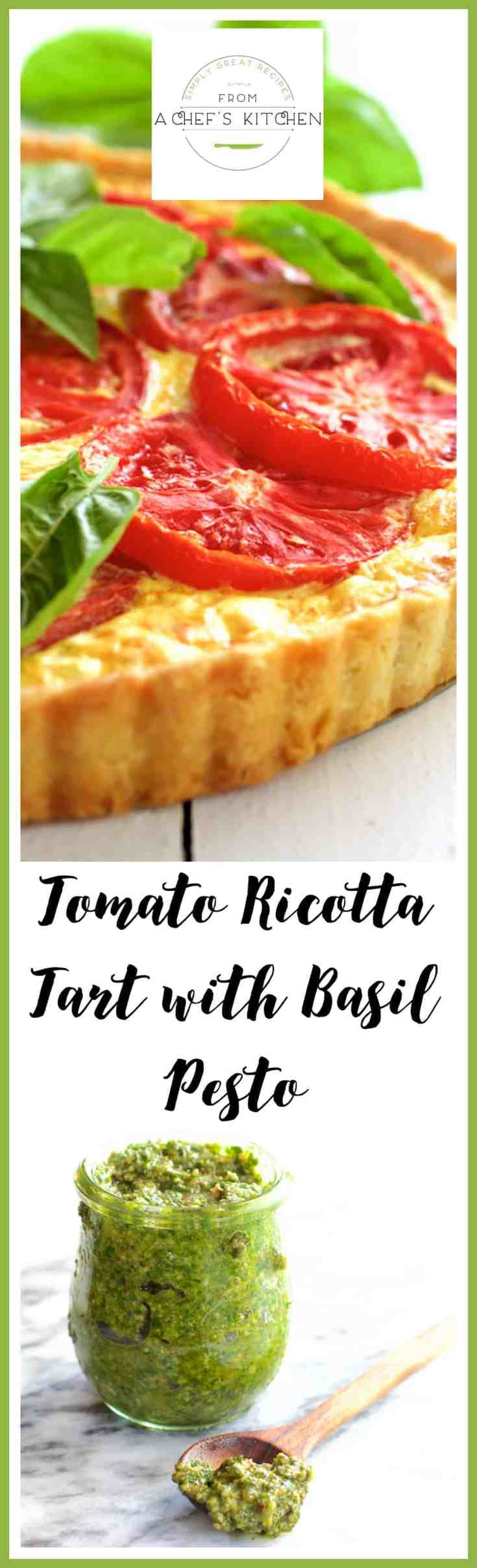 Tomato Ricotta Tart with Basil Pesto is a savory and delicious way to enjoy those tantalizing summer tomatoes and fresh basil! #tomato #tomatotart #ricotta #basilpesto
