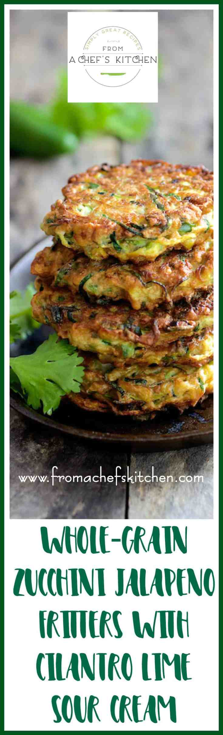 Whole Grain Zucchini Jalapeno Fritters are the traditional zucchini fritter reinvented with better-for-you whole-grain flour, some kick with fresh jalapeno and zippy Cilantro - Lime Sour Cream on the side!  #zucchini #zucchinifritter #wholegrain #vegetable #vegetarian