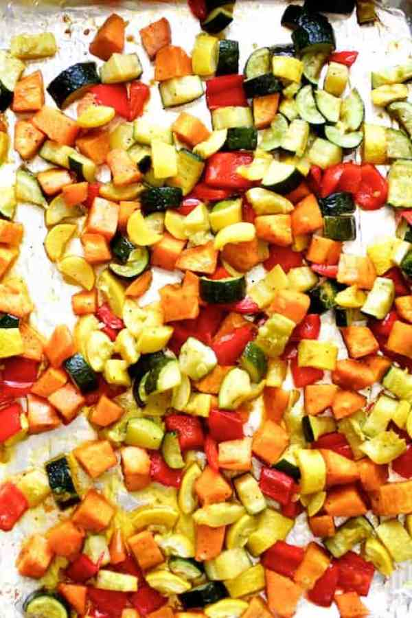 Spicy Roasted Vegetable and Black Bean Ragout with Polenta - Overhead shot of roasted vegetables on baking sheet