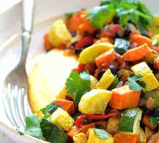 Spicy Roasted Vegetable and Black Bean Ragout with Polenta