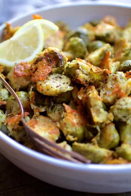 Lemon Parmesan Crusted Brussels Sprouts