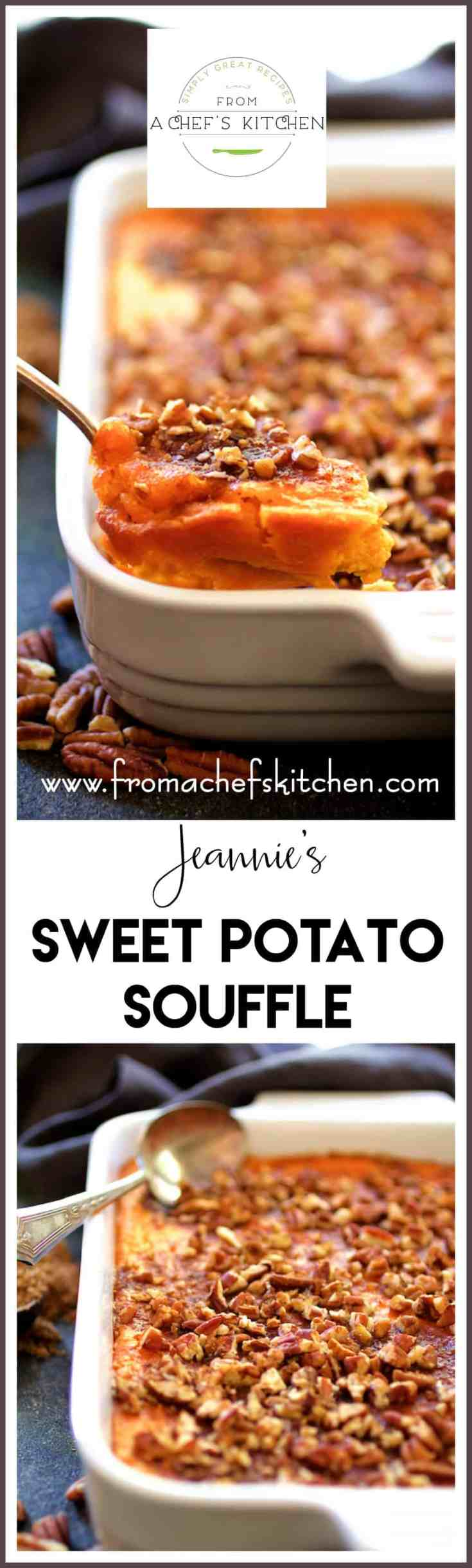 Jeannie's Sweet Potato Souffle is lush and luxurious and the ultimate sweet potato souffle perfect for your holiday table! #sweetpotato #sweetpotatosouffle #sweetpotatocasserole #Thanksgiving #Christmas