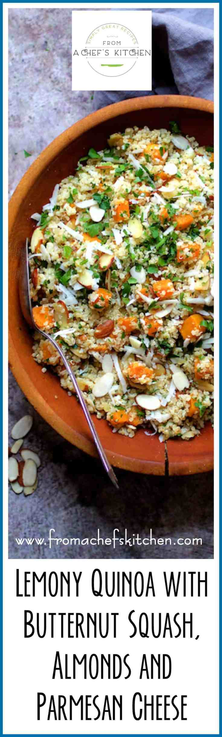 Lemony Quinoa with Butternut Squash, Almonds and Parmesan Cheese rocks with flavor and makes the perfect autumn side dish or vegetarian main dish.  #quinoa #butternutsquash #vegetarian #vegetarianrecipe