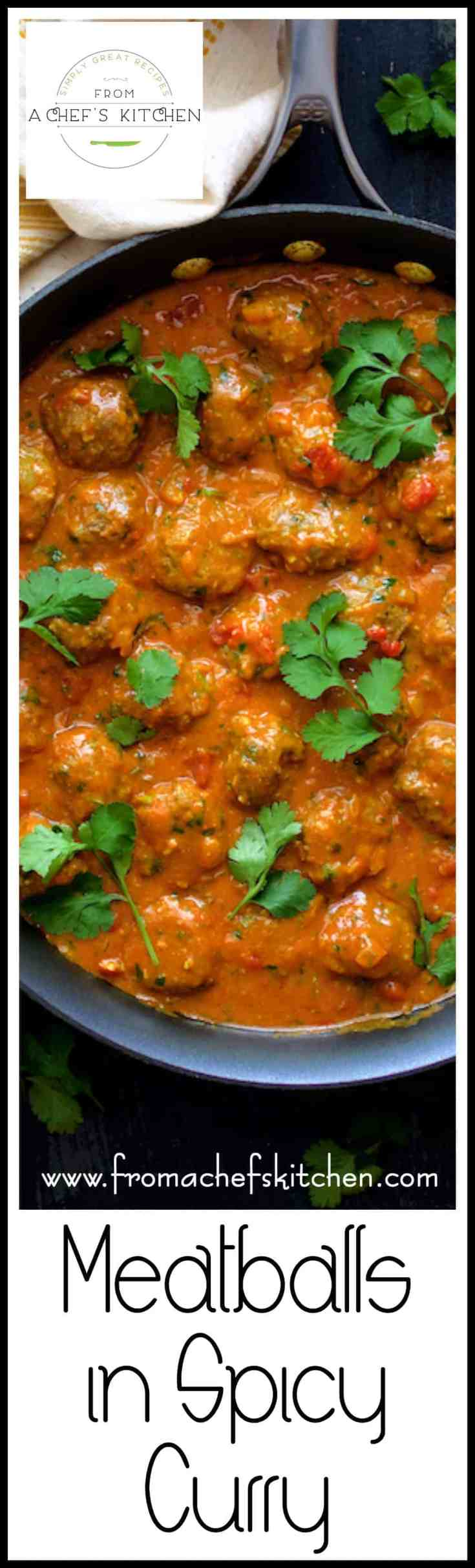 Meatballs in Spicy Curry rock with flavor and can be made with any protein!  Try beef, lamb, chicken or turkey meatballs smothered in this amazing spicy Indian-inspired sauce!  #meatballs #curry #Indian #Indianfood #spicyfood