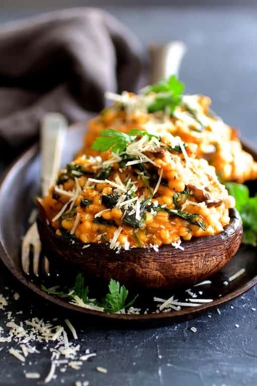 Barley Risotto Stuffed Portobello Mushrooms