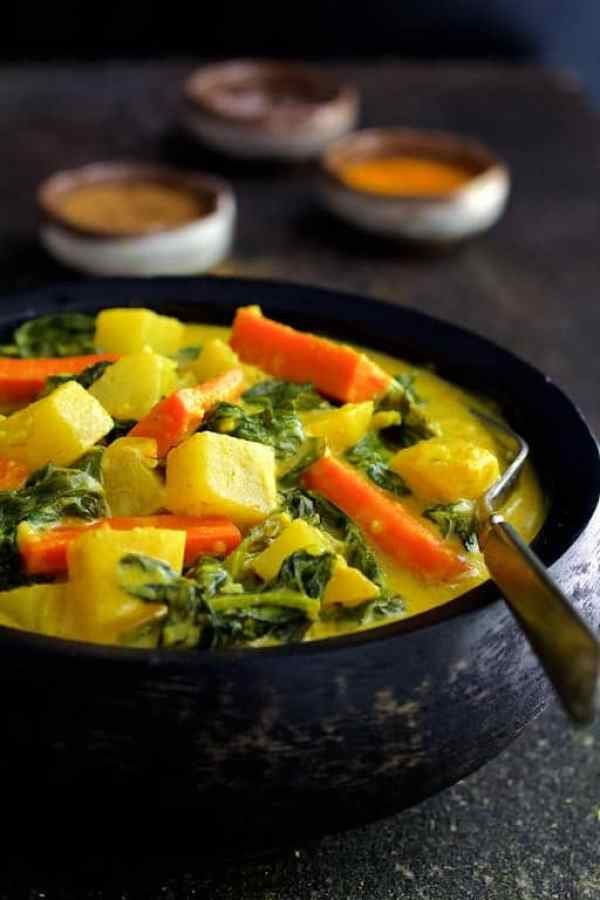 Indian Root Vegetable Curry - Straight-on close-up shot