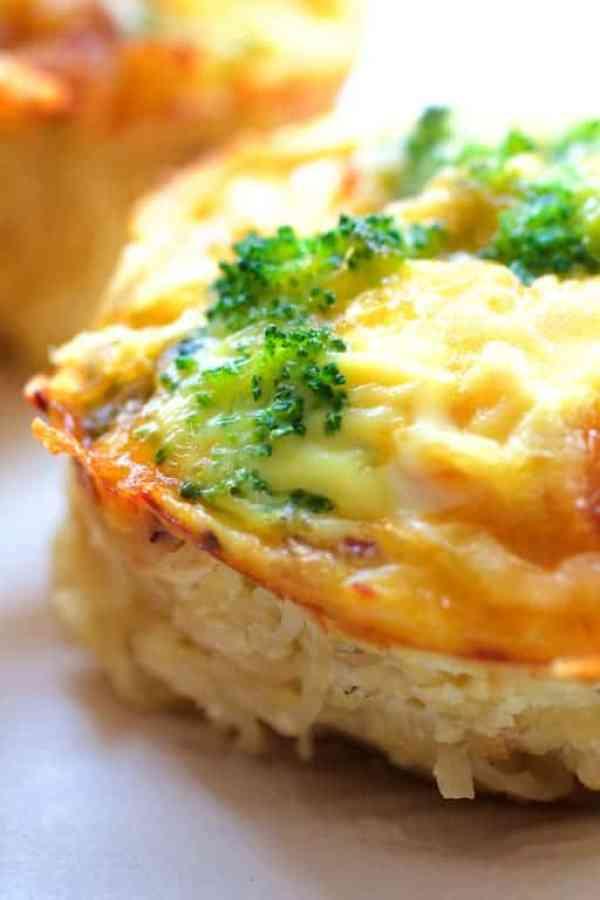Spaghetti Squash Broccoli Bacon and Cheddar Mini Quiches