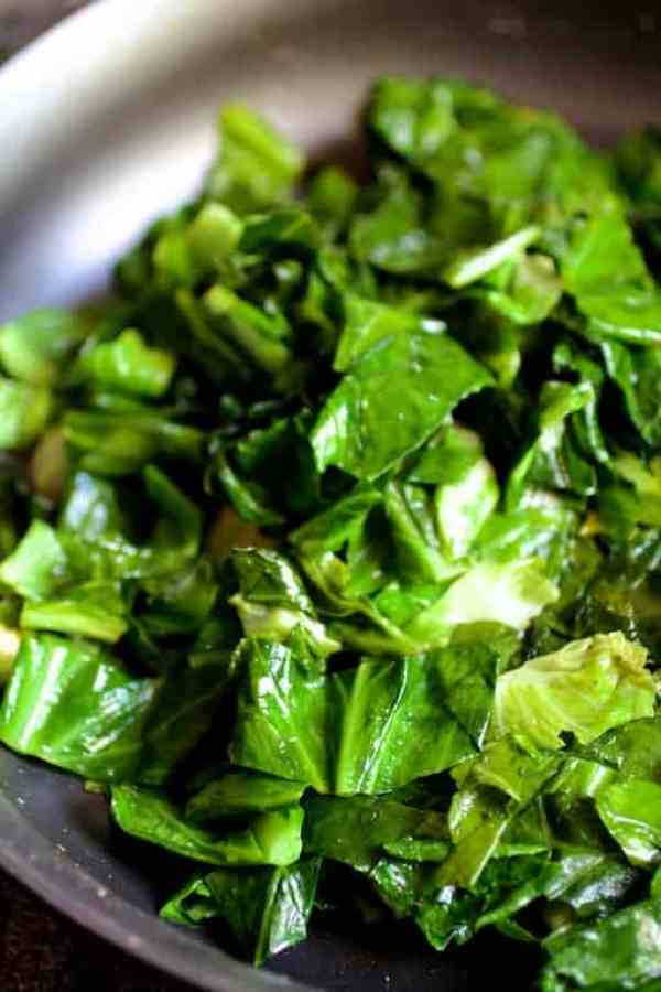 Side dish of greens in skillet