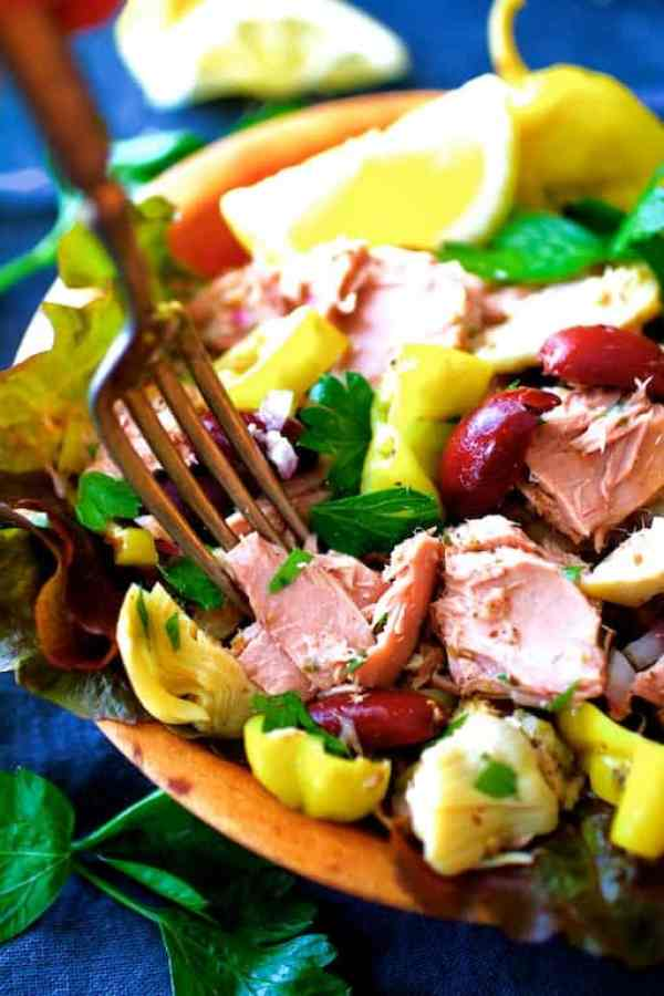 Quick Pantry Mediterranean Tuna Salad - Close-up shot of fork about to take a piece of tuna