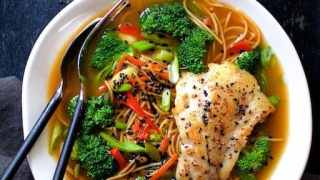 Asian Vegetable and Noodle Broth Bowls with Pan Seared Fish