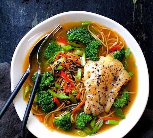 Asian Vegetable and Noodle Broth Bowls with Pan-Seared Fish