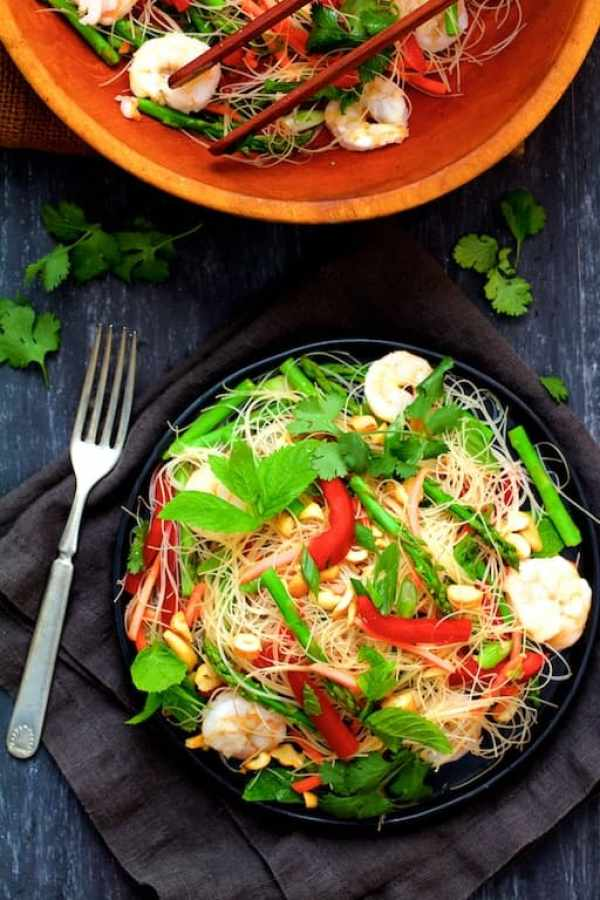 Vietnamese Spring Roll Salad - Overhead shot of salad on black plate