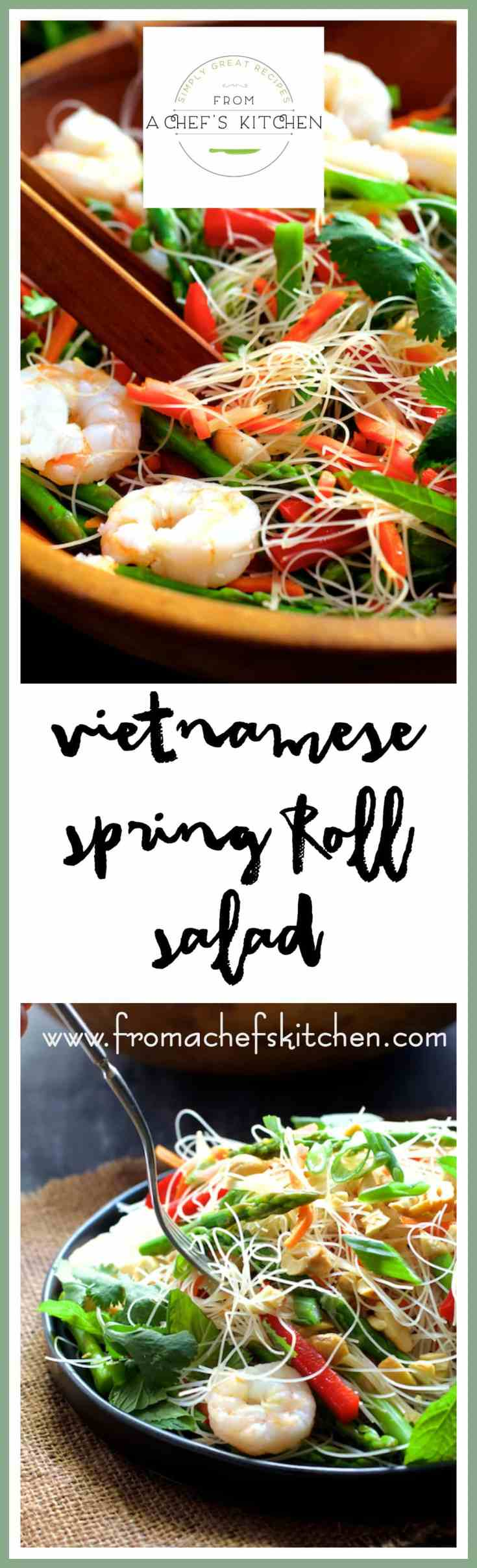 Vietnamese Spring Roll Salad is everything you love about spring rolls without all the rolling!  Simply toss all the ingredients together for this fresh, amazing Vietnamese-inspired salad! #vietnamese #vietnamesefood #springroll #salad