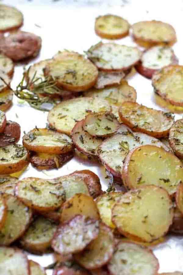 Thinly sliced roasted potatoes with rosemary and rosemary for Naan Potato Pizza with Radish Pesto and Smoked Mozzarella
