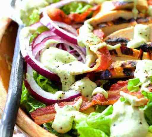Chicken BLT Salad with Spicy Avocado Ranch Dressing