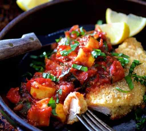 Chicken Scallopini with Roasted Vegetable Ratatouille