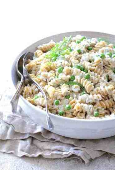 Pasta Salad with Creamy Cucumber Dressing Peas and Fresh Dill