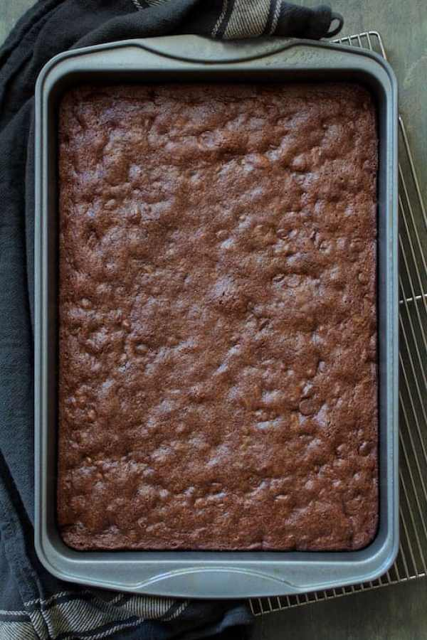 Whole Wheat Ancho Chili Brownies - Overhead shot of fully baked brownies in pan on cooling rack