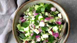 Cucumber Red Onion Salad with Feta Cheese